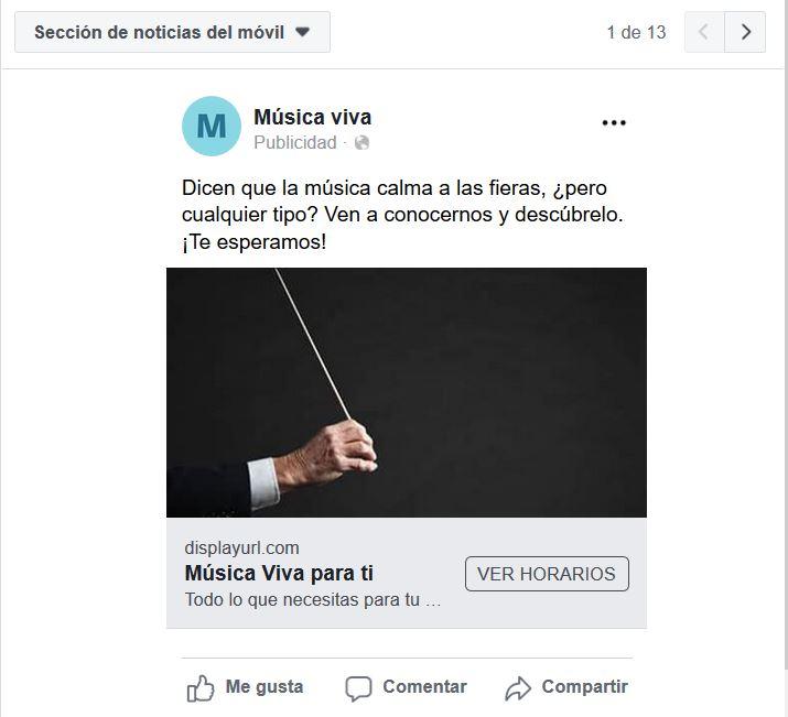 Vista previa anuncio Facebook