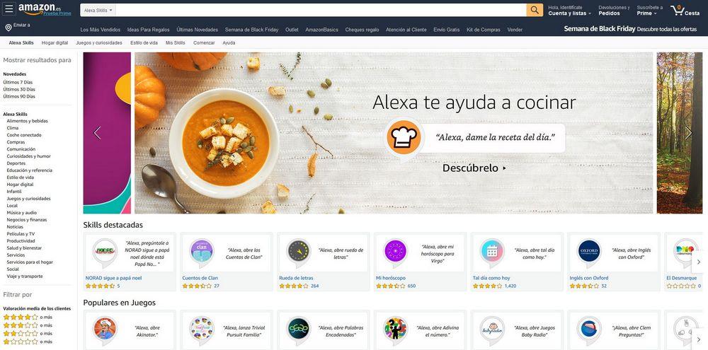 Imagen de la tienda de Amazon Skills