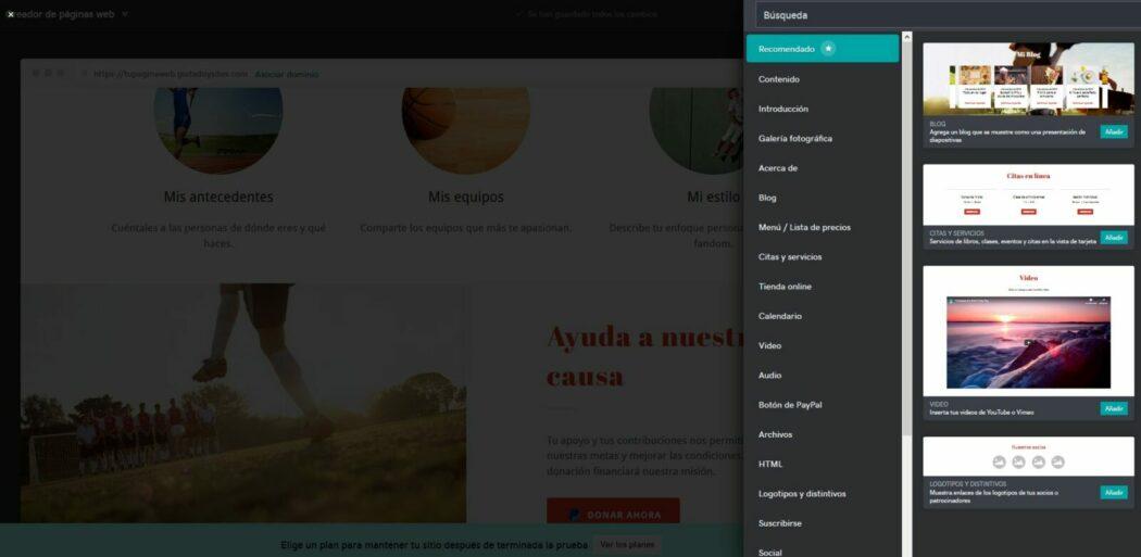 Pantalla para añadir módulos en Páginas web + Marketing de GoDaddy