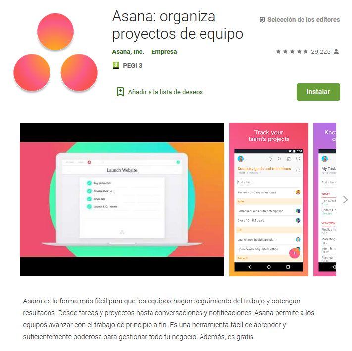 Imagen de la versión móvil de Asana en la Play Store de Google.