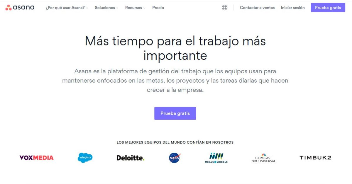 Imagen de la página web de Asana, una de los mejores software de gestión de proyectos que hay en el mercado.