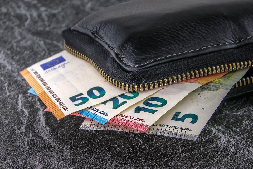 BIlletes de euro metidos en una cartera
