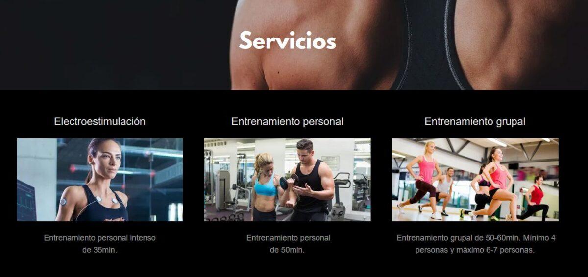 Imagen de los servicios que ofrece Body Up! en su página web.
