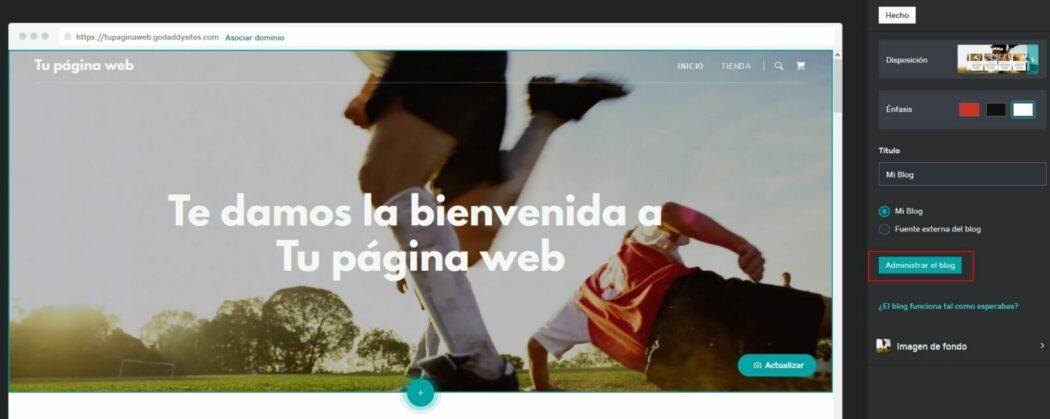 Pantalla para administrar el blog que creas en Páginas web + Marketing