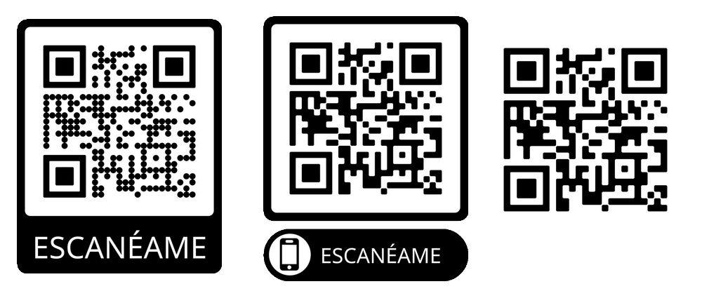 Imagen con tres códigos QR que dirigen a la web de GoDaddy, a modo de ejemplo.