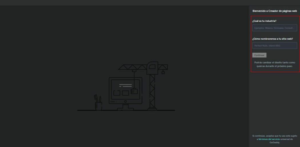 Imagen de la configuración básica de Páginas web + Marketing