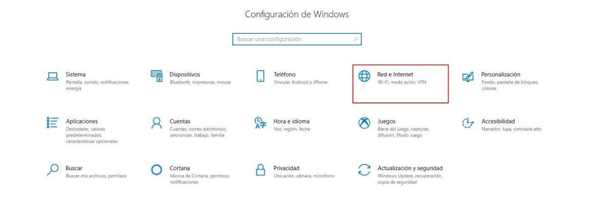 Imagen del primer paso para configurar un servidor proxy en Windows 10.
