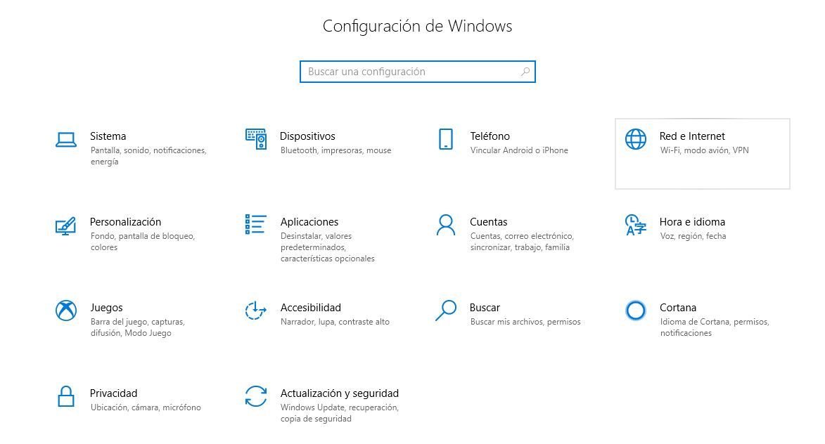 Imagen de la configuración de red e Internet en Windows 10