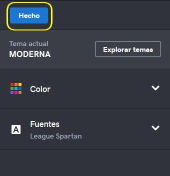Imagen de selección del botón Hecho para seleccionar tema