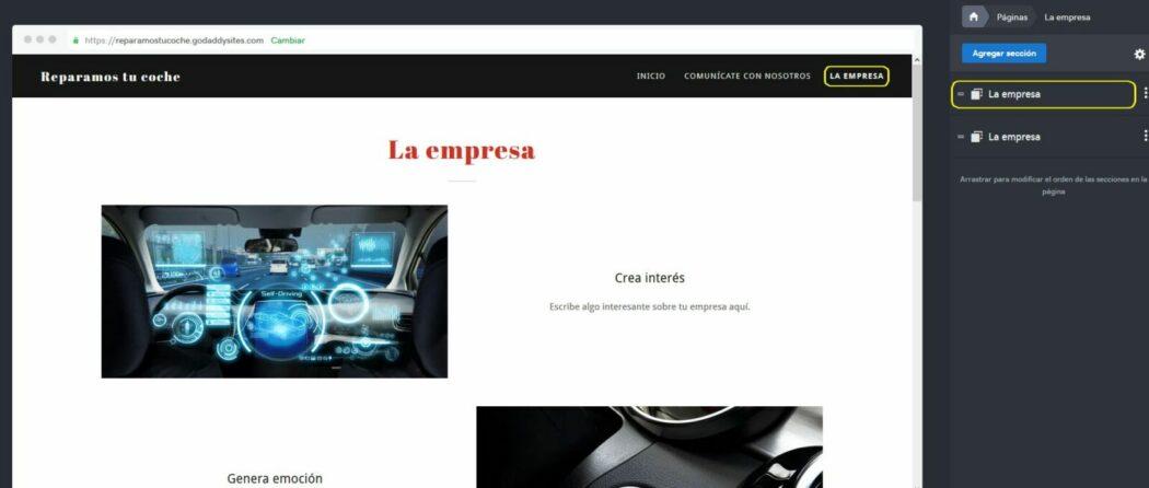 Imagen de cómo editar una página, mostrando los botones opcionales