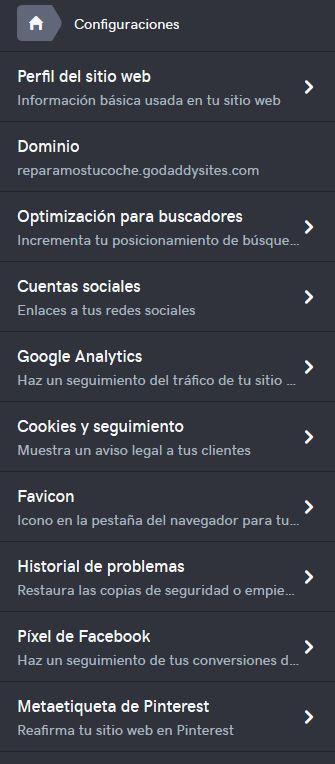 Imagen de la configuración de opciones en el editor web de GoDaddy