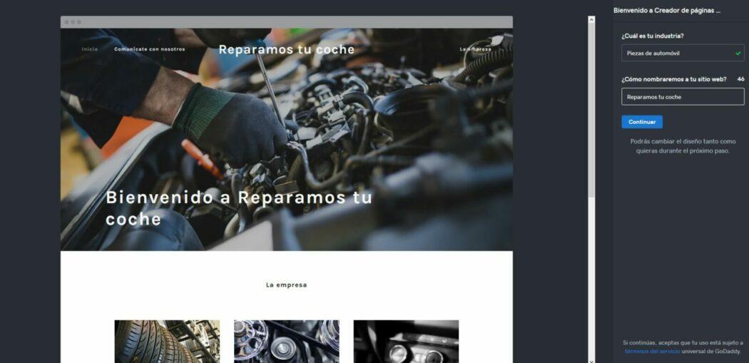 Imagen del diseño por defecto del Creador de páginas web de GoDaddy para un taller de coches