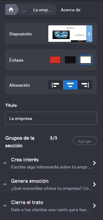 Imagen de cómo editar una sección en el Creador de páginas web