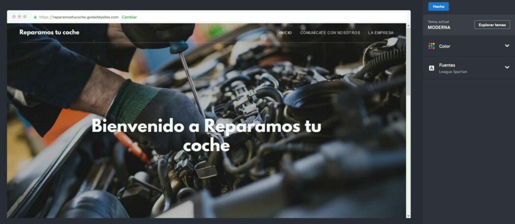 Imagen de selección de tema en el Creador de páginas web