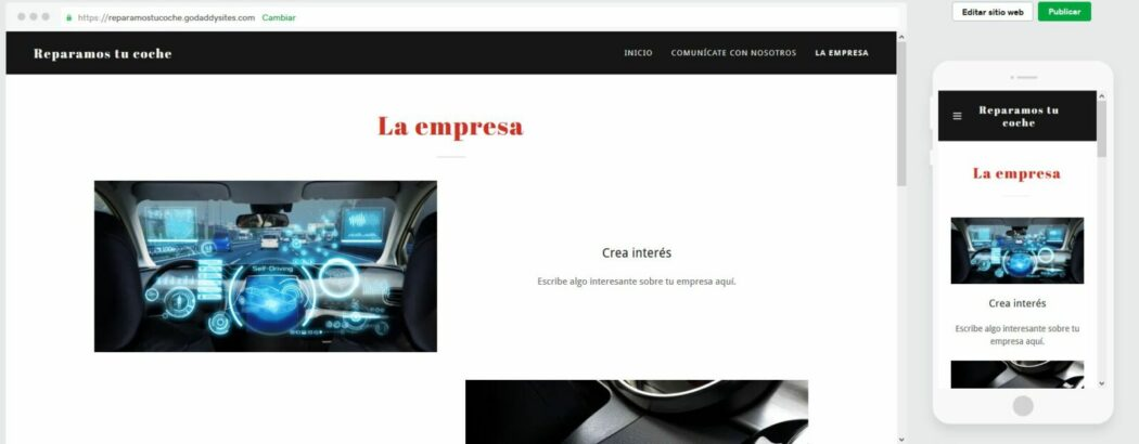 Vista previa de tu web en el Creador de páginas web de GoDaddy