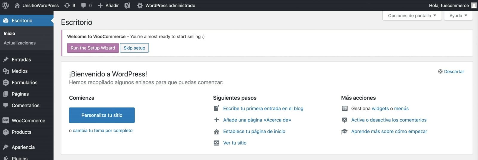 Panel de control de WooCommerce