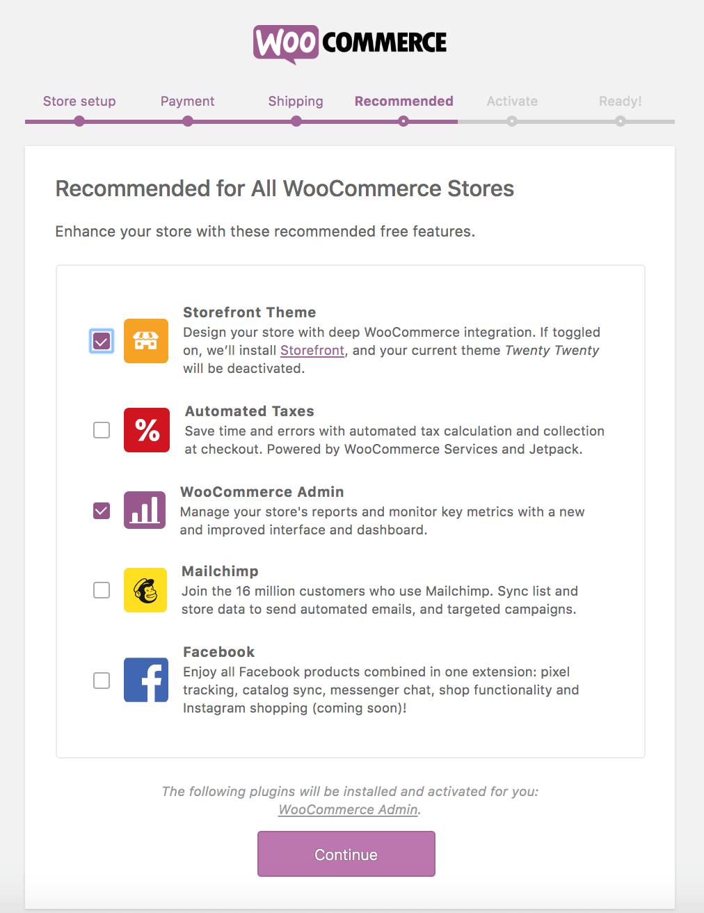 Recomendaciones de WooCommerce
