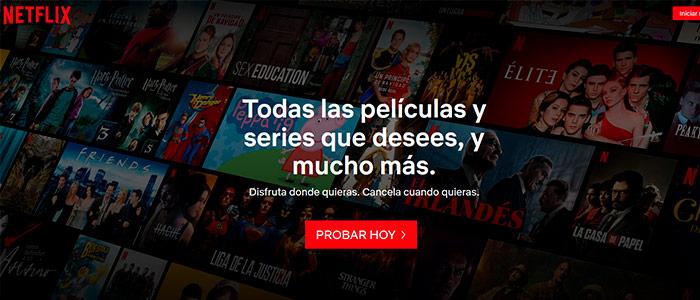 Ejemplo landing page Netflix