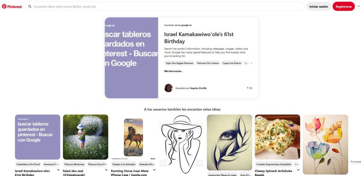 Imagen de la web de Pinterest para buscar tableros grupales o individuales, fundamental conocerlo si quieres saber cómo usar Pinterest para tu negocio