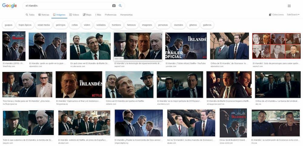 Imagen sacada de Google Images sobre la película El irlandés