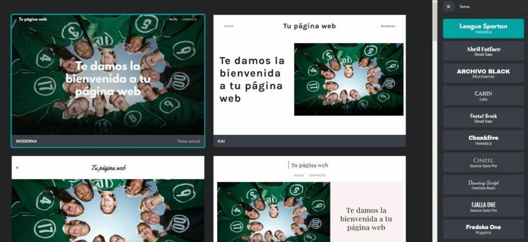 Pantalla de elección de tipografía en Páginas web + Marketing