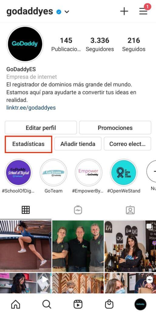 Acceder a las estadísticas de Instagram desde el perfil