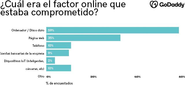 Gráfico con datos sobre aquellos elementos o factores comprometidos en materia de seguridad en Internet