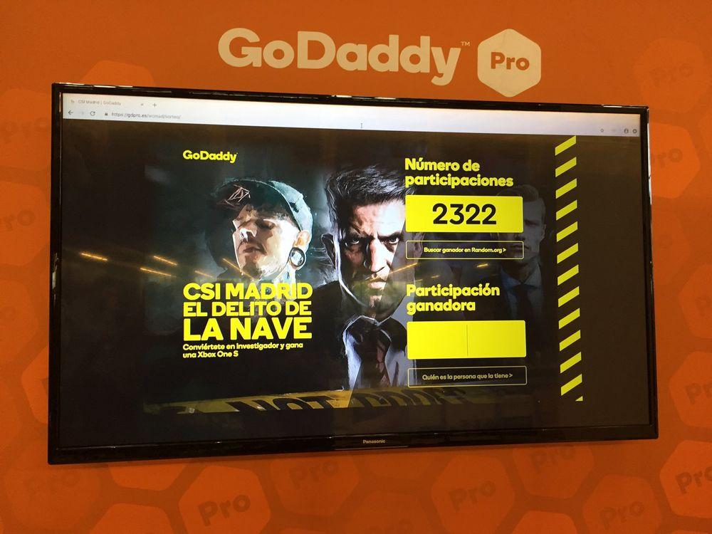 Imagen del patrocinio de GoDaddy Pro en la WordCamp Madrid 2019
