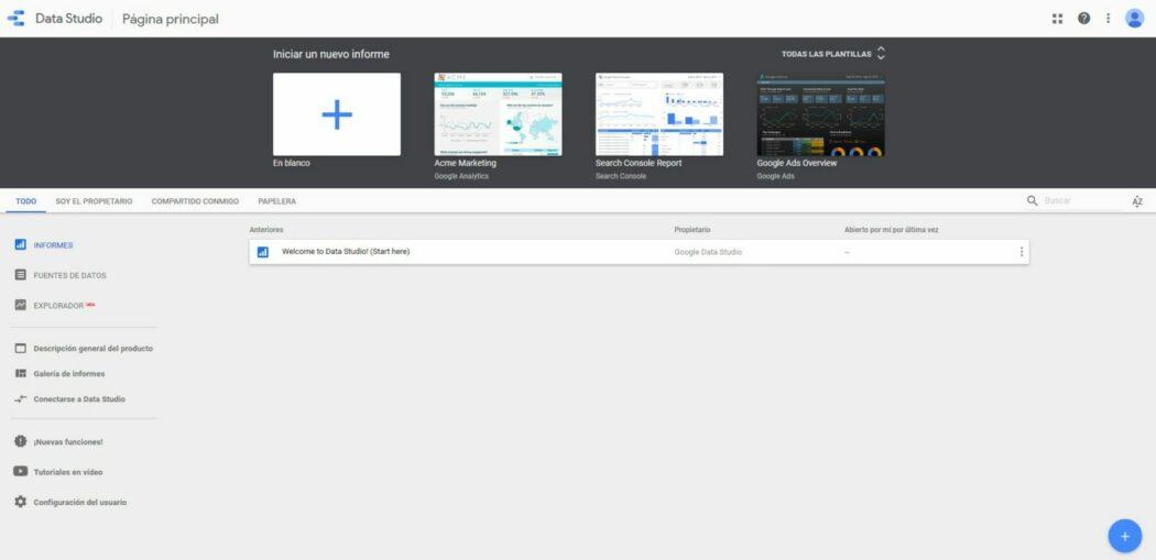 Imagen de la página principal de Google Data Studio
