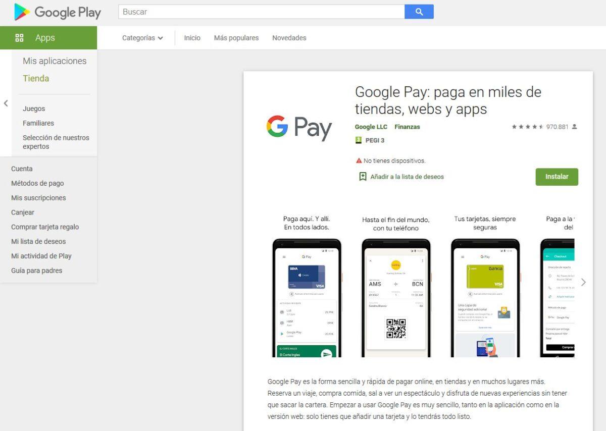 Imagen de la tienda Google Pay, donde se puede activar la instalación de Google Pay para un smartphone.