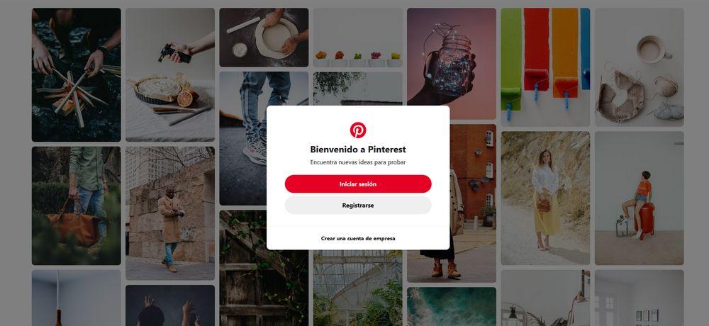 Imagen de portada de Pinterest nada más entrar en su web.