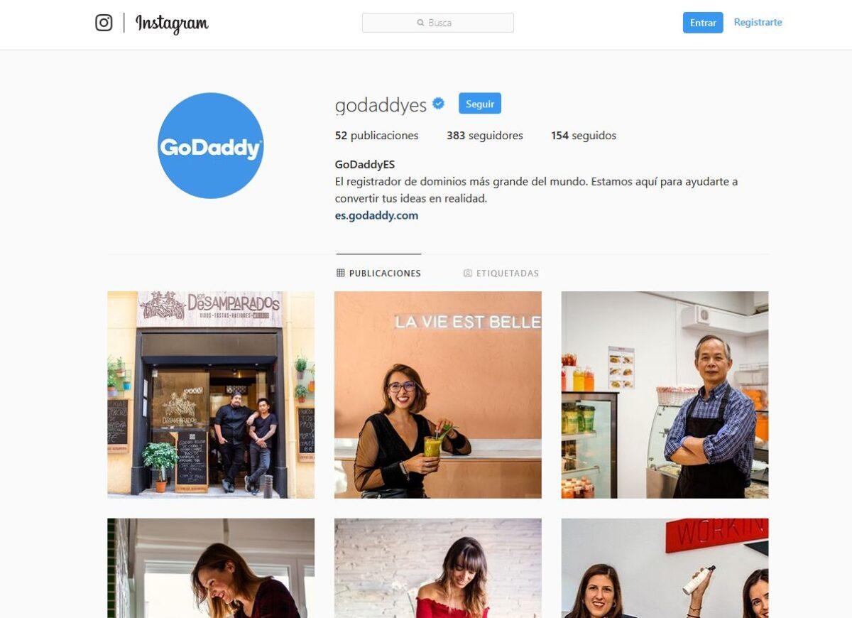 Imagen del perfil en Instagram de GoDaddy España