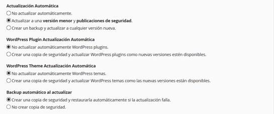 Configurar las actualizaciones de WordPress