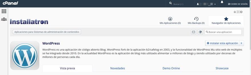 Instalar WordPress con Installatron