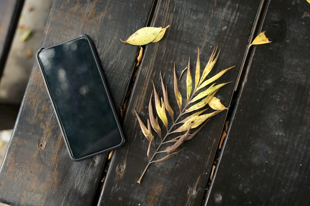 Imagen de un iPhone 7 negro encima de una mesa.