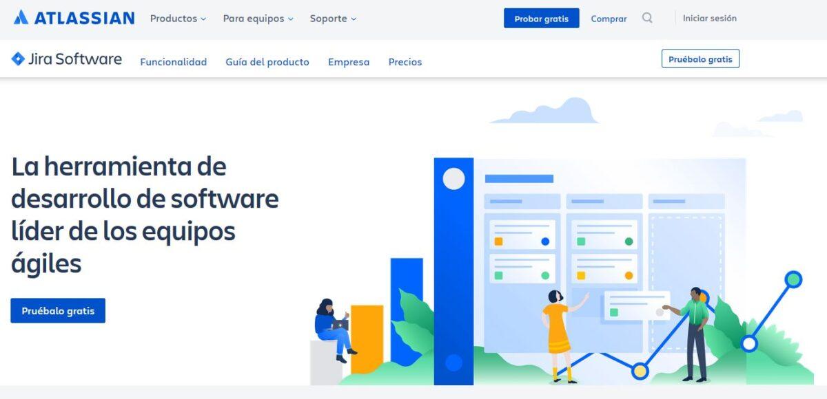 Imagen de la página web de Jira, el software de Atlassian para trabajar en equipo.