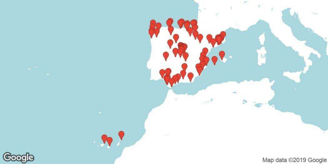 Si no sabes qué es Meetup, echa un ojo a esta imagen del mapa de España con todas las Meetup activas