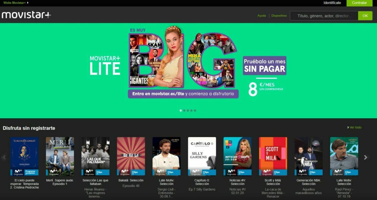 Pantalla de inicio de Movistar +, donde se ven varios thumbnails de series y películas en estreno
