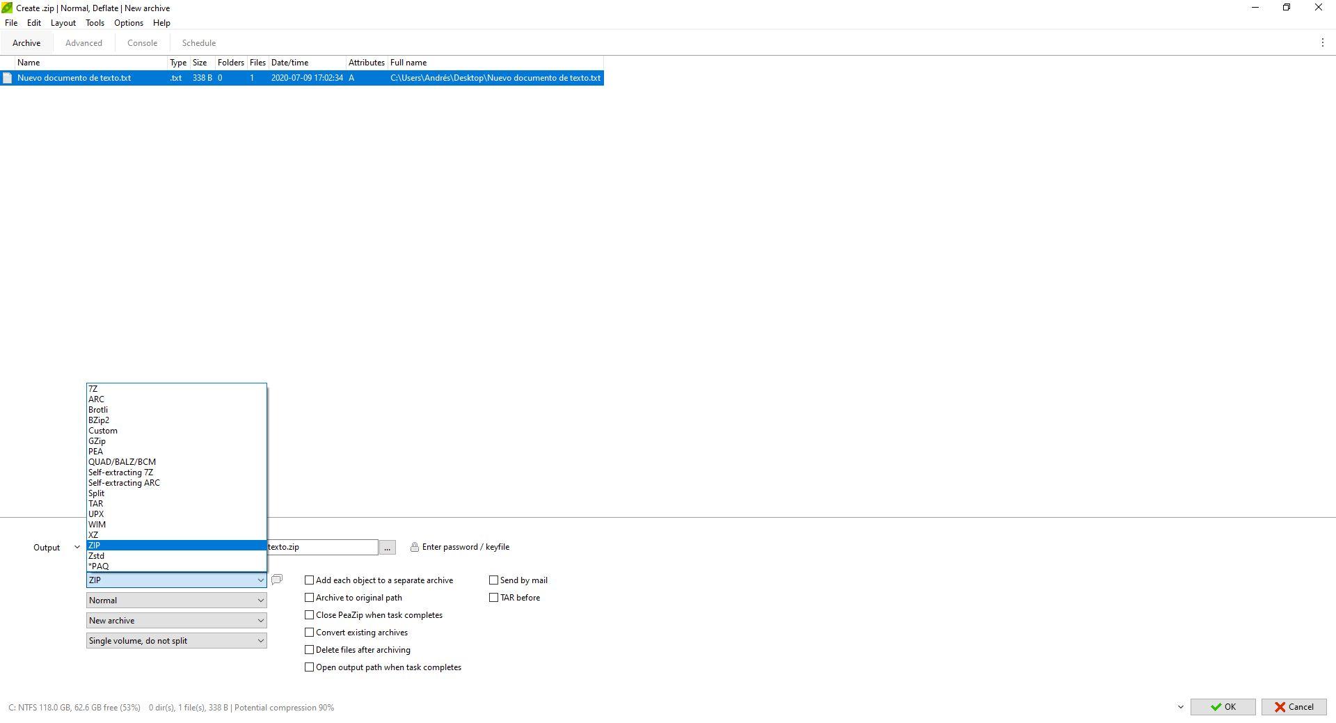 Imagen de Peazip en la pantalla de selección de opciones para comprimir.