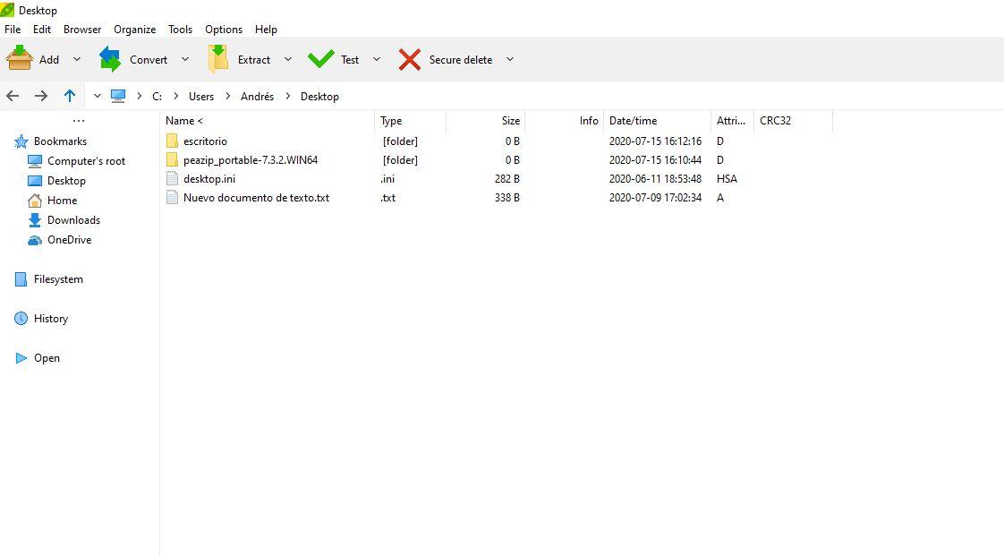 Imagen de Peazip en su pantalla de inicio, antes de comprimir archivos gzip.