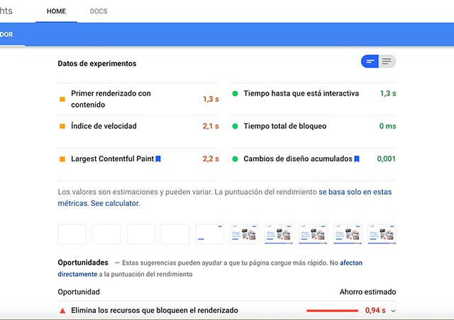 Resultados de Google PageSpeed Insights