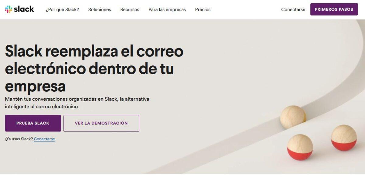 Imagen de la página web de Slack