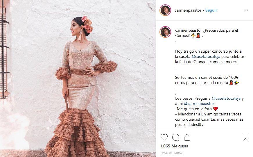 Imagen del sorteo de Carmen Pastor en su perfil de Instagram
