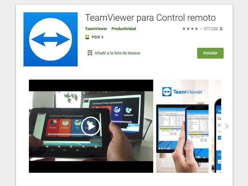 Imagen de la aplicación de Teamviewer para móviles, disponible en Google Play.