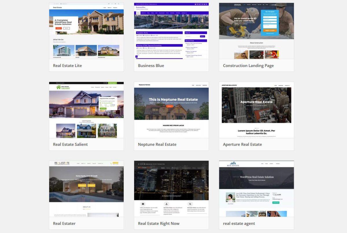 Imagen de una lista de temas WordPress para crear páginas web para inmobiliarias.