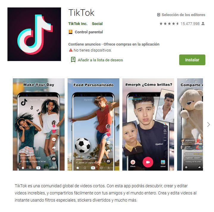 Imagen de Google Play donde puedes ver qué es tik tok y las razones para descargar la app en tu smartphone