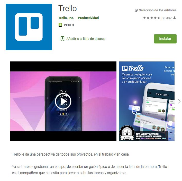 Imagen de la versión móvil de Trello donde descargarlo dentro de la Play Store de Google.