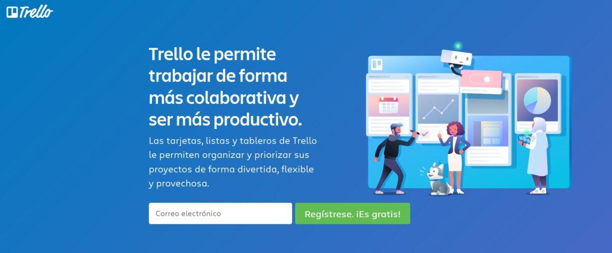 Imagen de la página web de Trello, un software de gestión de proyectos basado en tarjetas para mostrar el avance de las tareas.