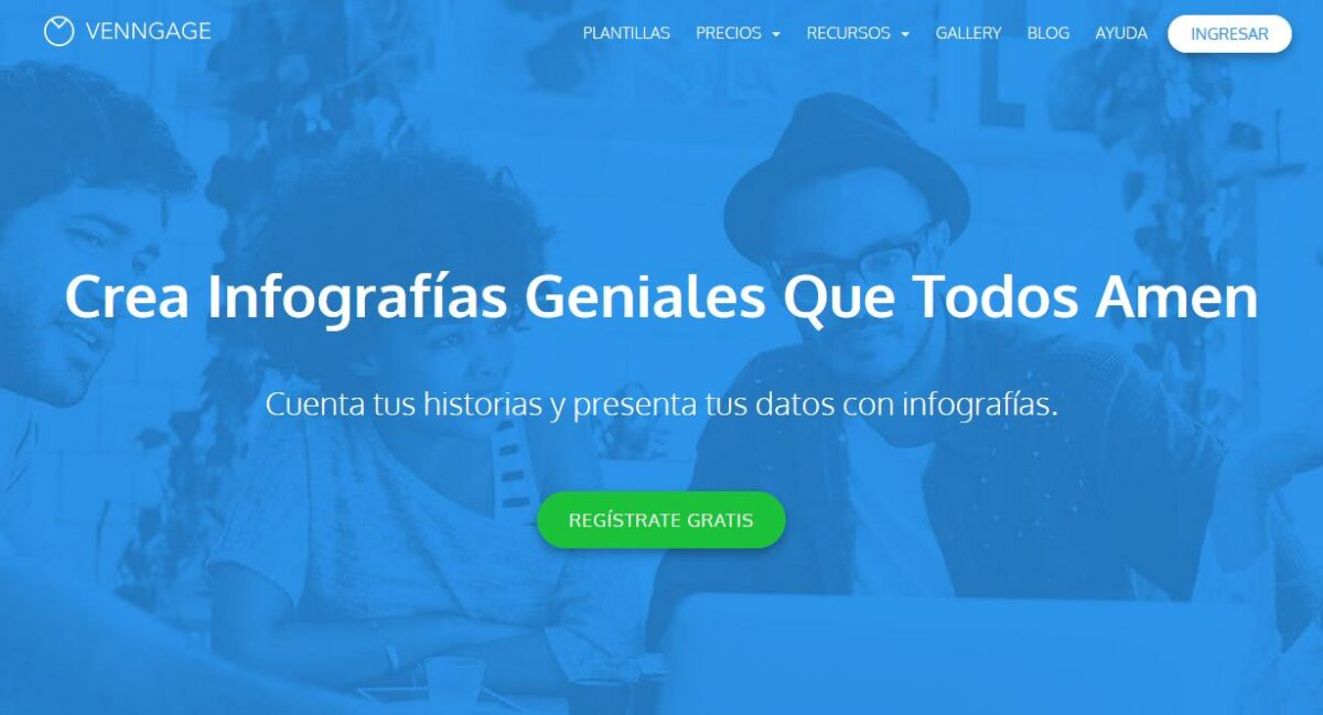 Imagen de portada de la web de Venngage, uno de los programas para hacer infografías que se ofrece en español