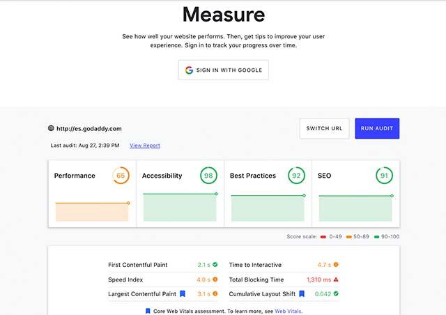Herramienta Measure para velocidad de página